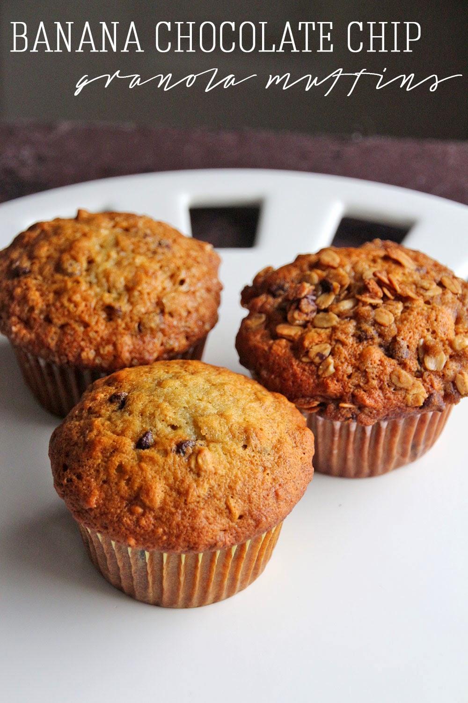 Featured Recipe: Banana Chocolate Chip Granola Muffins from Rainstorms and Love Notes #SecretRecipeClub #banana #breakfast #muffins #granola