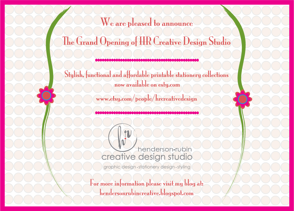 Henderson rubin creative design studio grand opening newswe are positive feedback is always welcome my shop is a work in progress as i figure out the ins and outs of it all thanks for your continued encouragement stopboris Image collections