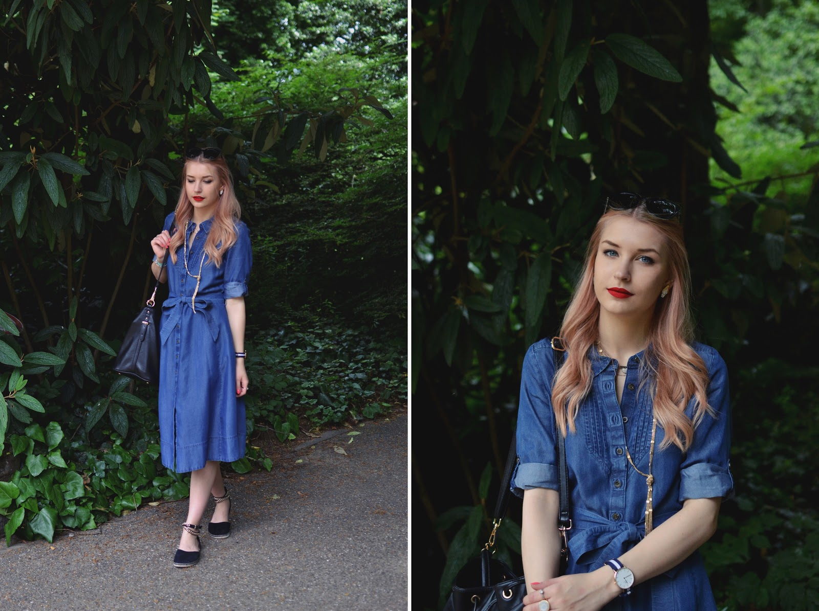 Midi denim dress outfit blogger