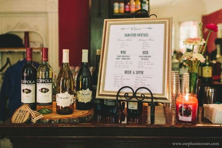 rustic chic wedding reception decor custom drink menu