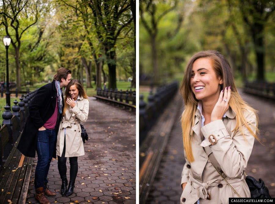 Lifestyle Engagement Session in the fall under American Elm trees, Bethesda Terrace Central Park NYC - www.cassiecastellaw.com