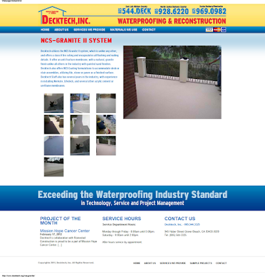 No sign or mention anywhere on Decktech's new website of Nevada Coatings System Granite Deck. Why not? Probably because it's failing everywhere they put it down.