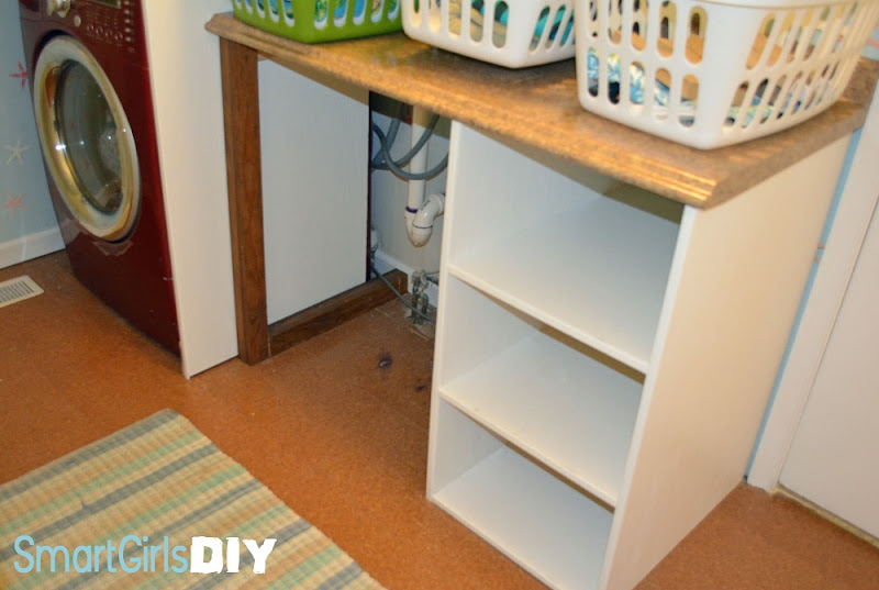 DIY Laundry Room Basket Shelves