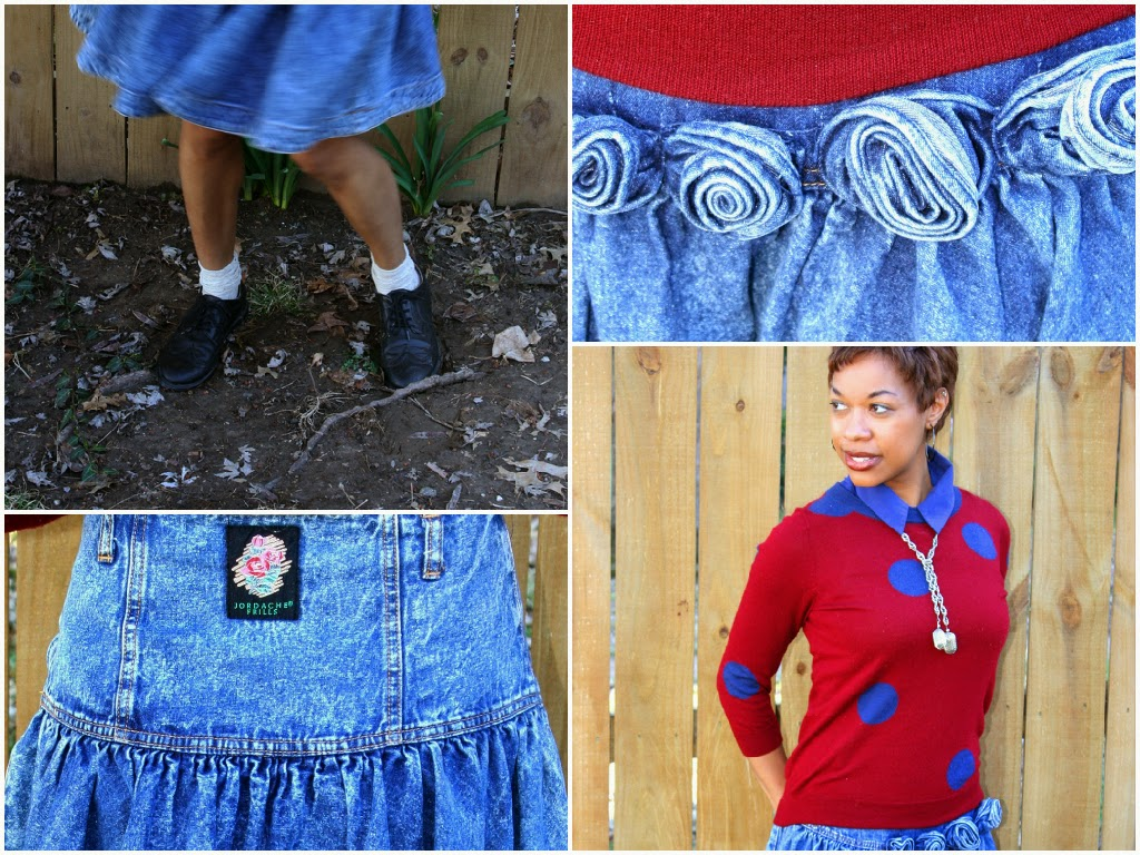 how to wear an 80s denim skirt