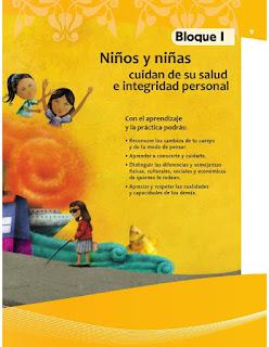 Apoyo Primaria Formación Cívica y Ética 4to grado Bloque I Niños y niñas cuidan de su salud e integridad personal