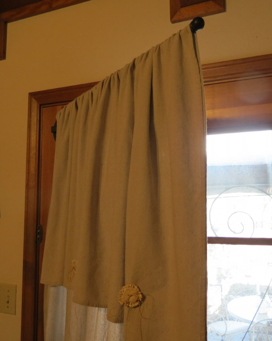 Timeless Treasures Painter Drop Cloth French Door Drapes Antler Horn Buttons