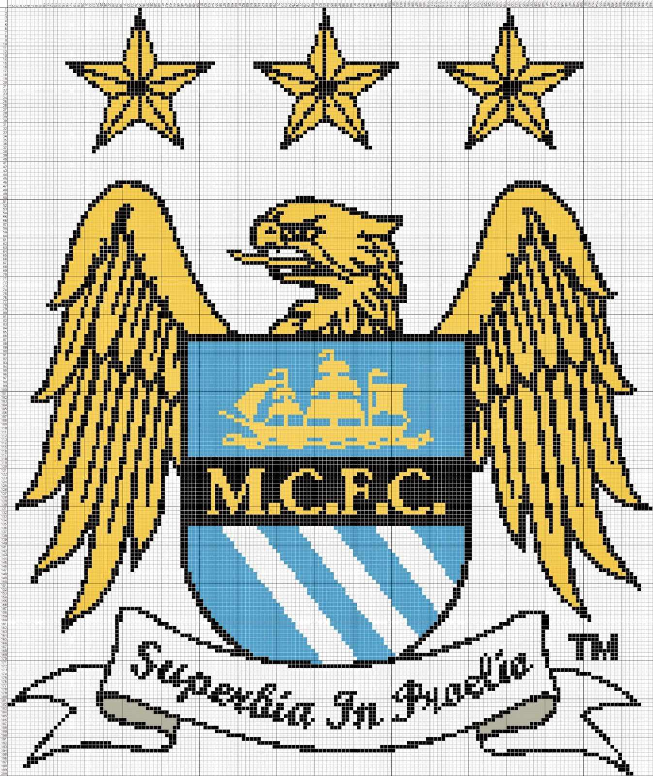 Gambar Pola Kristik Logo Manchester City FC - Inggris