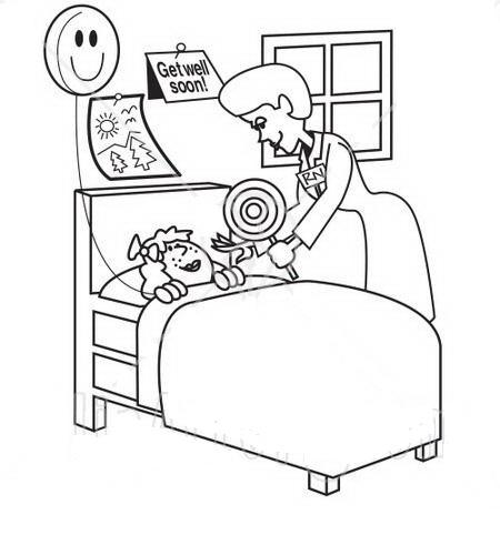 COLOREA TUS DIBUJOS: Doctora cuidando a niña en hospital
