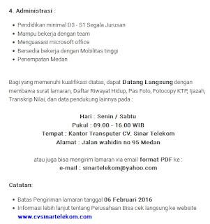 Lowongan Kerja Medan CV Sinar Telekom Februari 2016