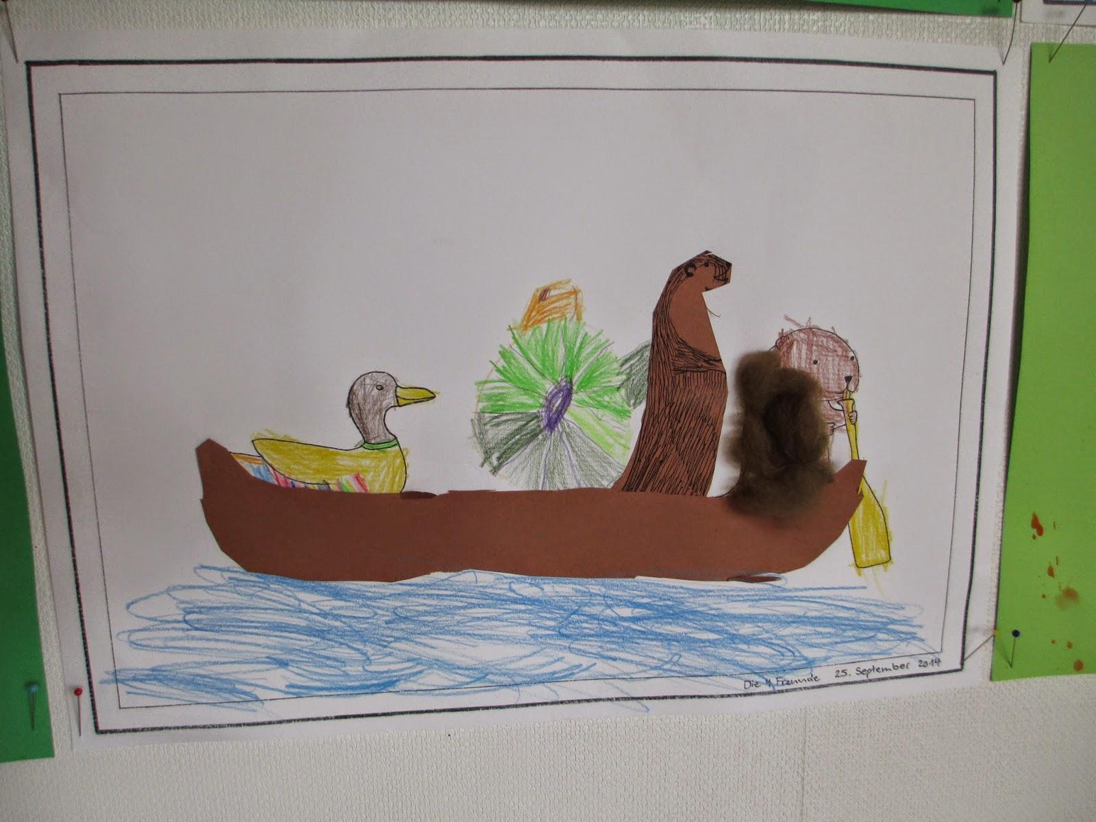 Malen, Schneiden, Kleben der Kinder vom Kindergarten