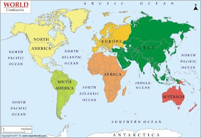 Carte du Monde Continents Departement