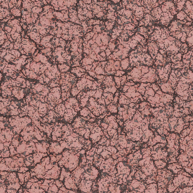Red paint cracked on road texture seamless