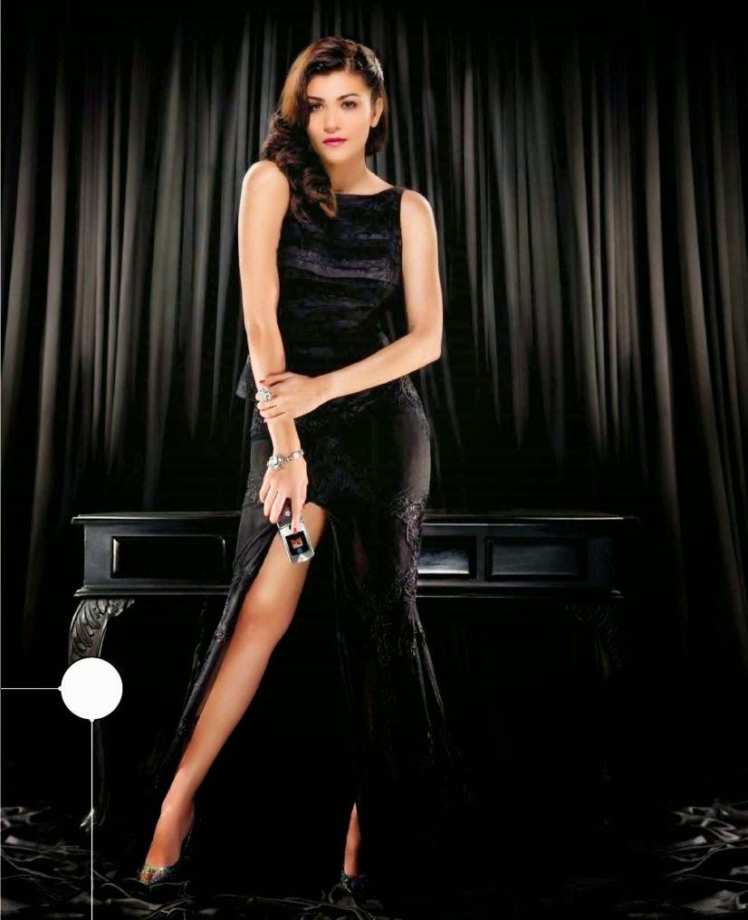 Archana-Vijaya-in-black-gown-showing-long-legs-in-Stuff-Gadgets-Magazine