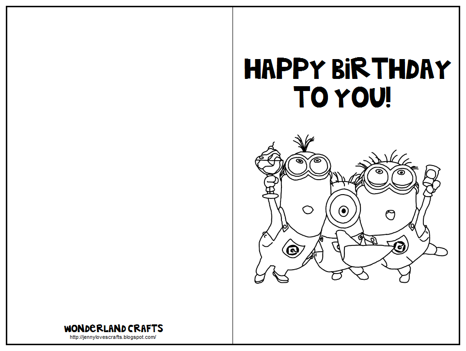 Sweet image in minion birthday cards printable