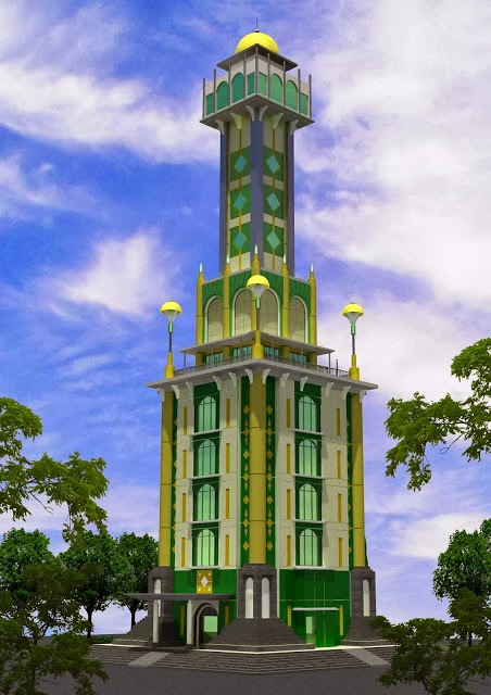 Rendering Menara Masjid Agung Sumber, Kabupaten Cirebon