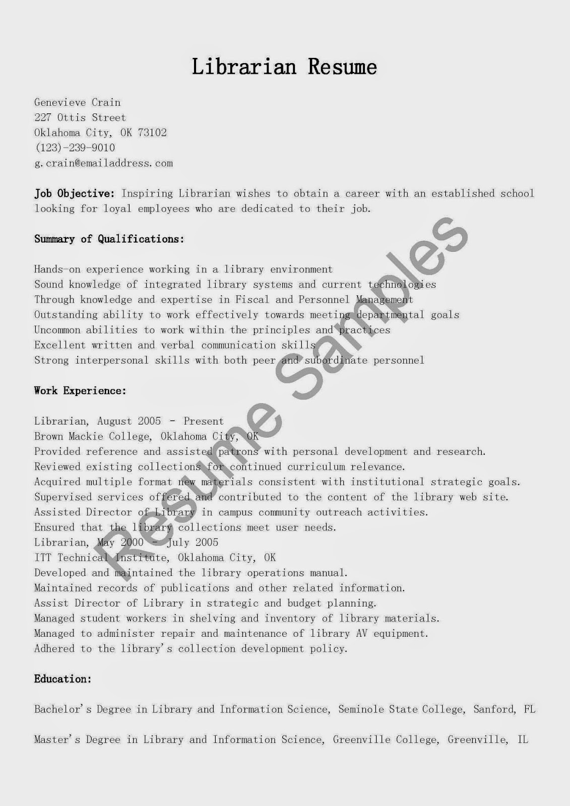 Library Resume Higher Education Objective