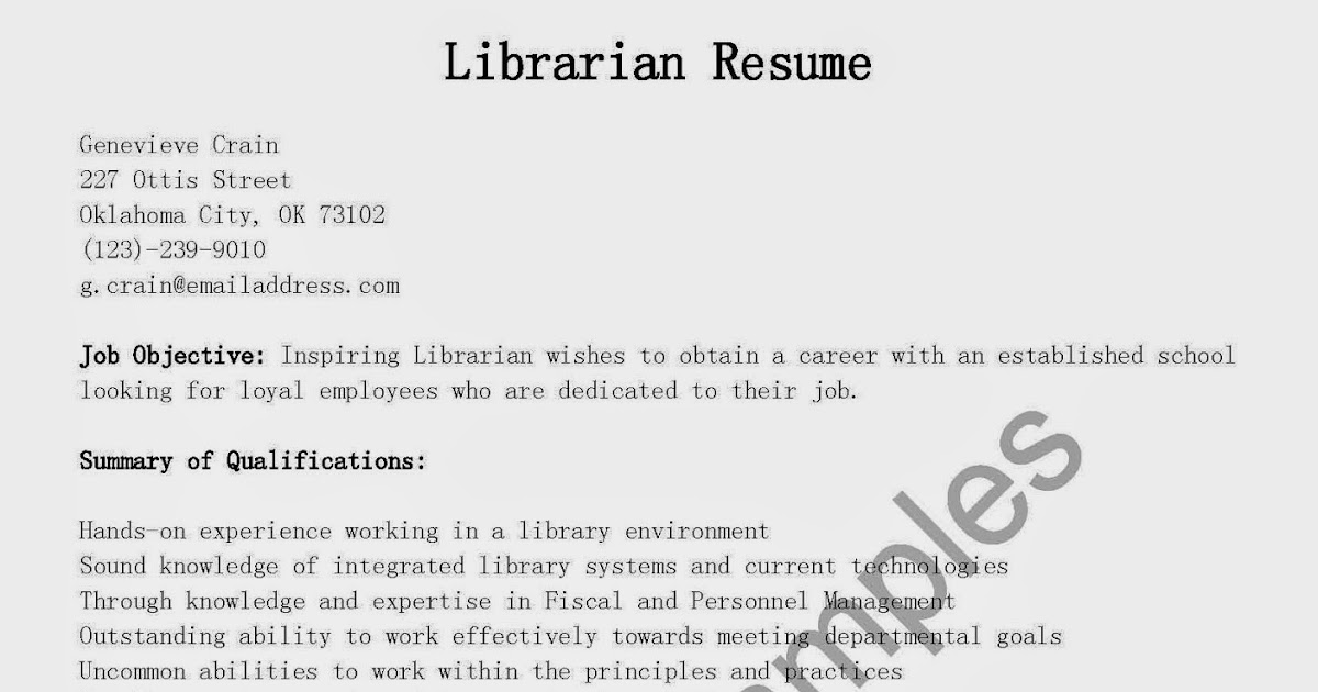 Resume Samples Librarian Resume Sample
