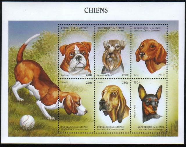 1999年ギニア共和国 ブルドッグ ミニチュア・シュナウザー ダックスフンド ビーグル ブラッド・ハウンド ミニチュア・ピンシャーの切手シート