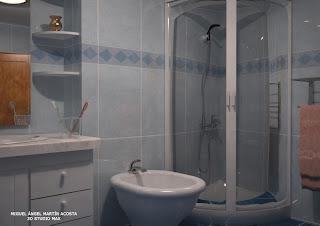 Vista de baño hacia el bidet y la mampara de la ducha
