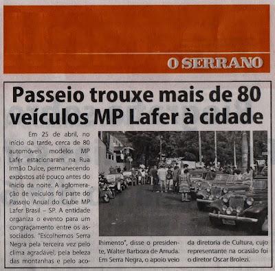 """Agradecemos ao João R. Silva, amigo do Giba, pelo envio do exemplar do jornal """"O Serrano"""" de 01 de maio de 2015, com a nota referente ao passeio do MP Lafer."""