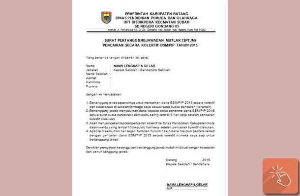 Contoh Surat Pertanggungjawaban Mutlak (SPTJM) Pencairan Dana Secara Kolektif BSM/PIP