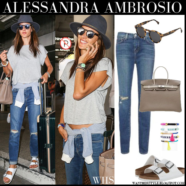 Alessandra Ambrosio in grey cropped top, ripped knee Lagence jeans, white Birkenstock sandals with round mirrored Illesteva Leonard sunglasses what she wore july 27 fashion streetstyle
