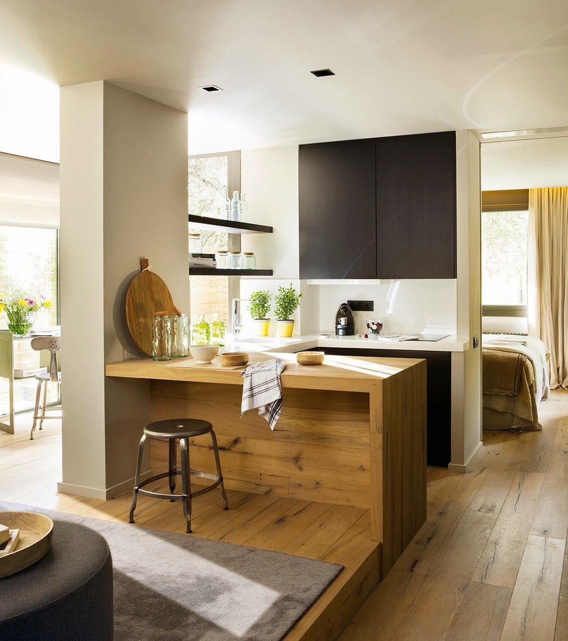 Ecce home piccoli spazi dalle idee chiare - Cuisine ouverte salon petit espace ...