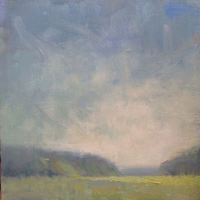 Painting a Day. Oil painting of a Cape Cod marsh on a foggy morning by artist Steve Allrich