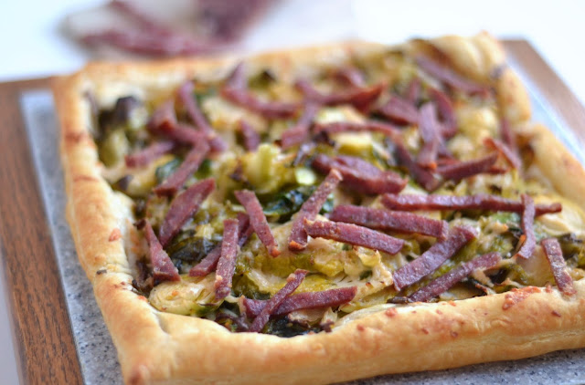 From Fast Food to Fresh Food: Salami, Brussel Sprout, and Parmesan Galette