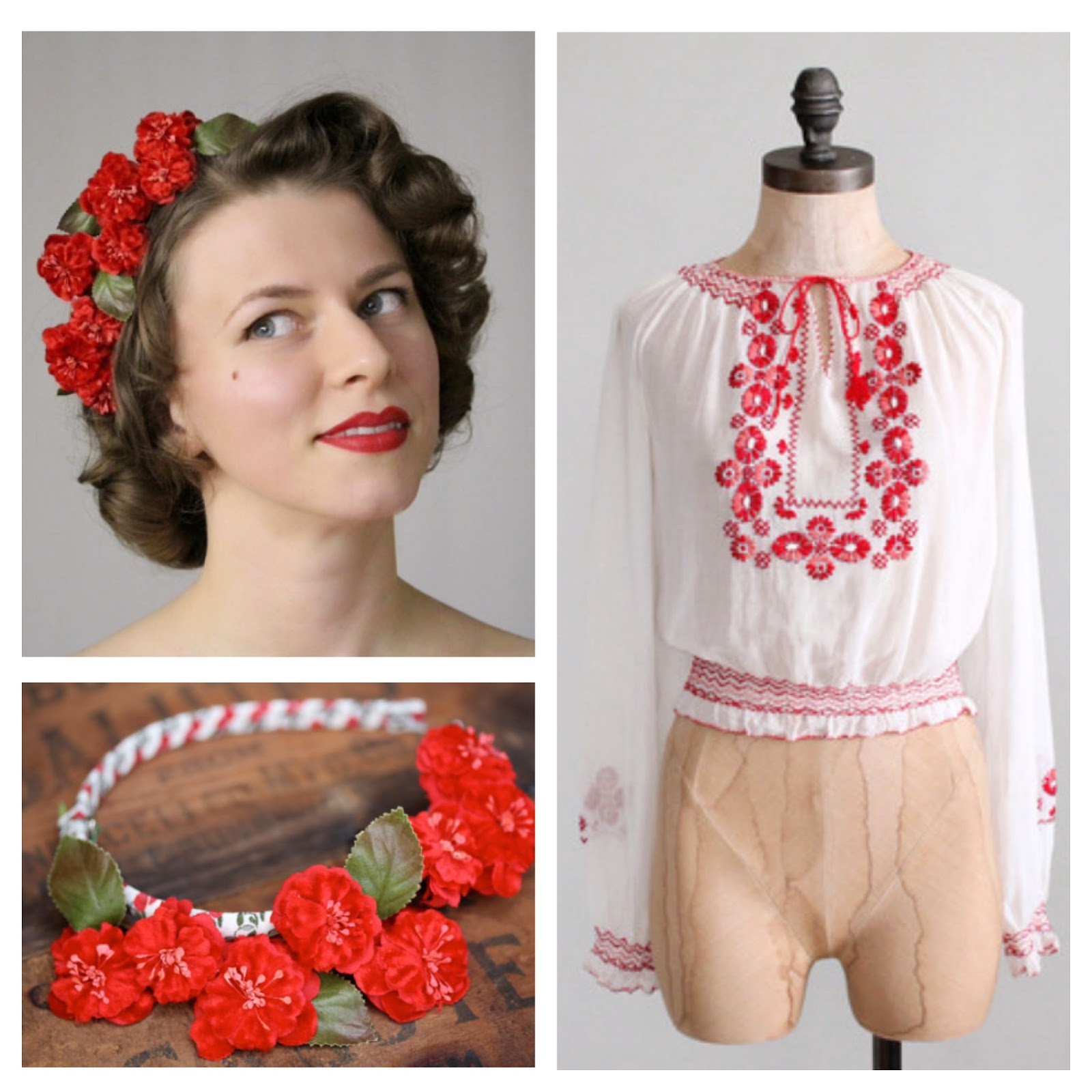 1930s Wild Rose #vintage #blouse #1930s #folk #peasant #rose #hair