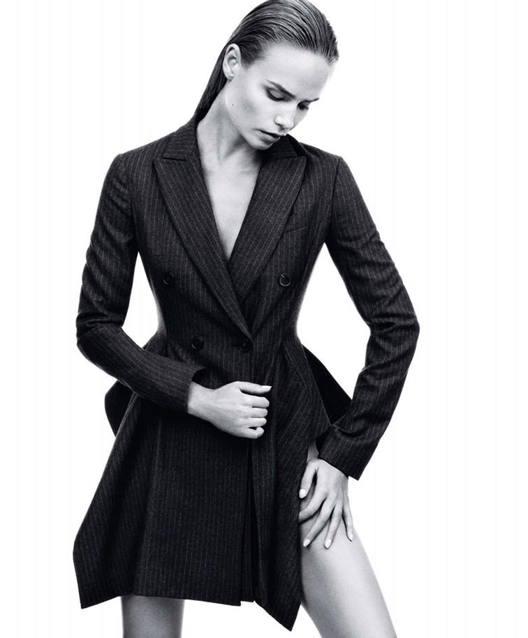 Natasha Poly by Daniel Jackson for Harpers Bazaar US September 2014, pinstripe dress
