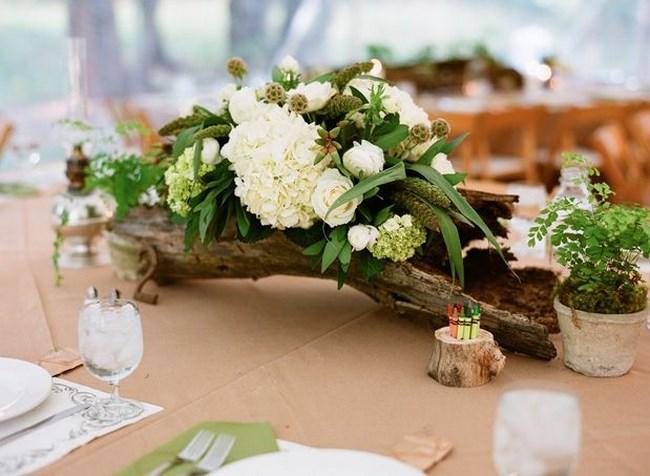 centros de mesa con troncos