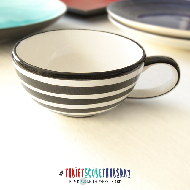 #thriftscorethursday Week 5 | Glass Obsession, Black and White Striped Mug