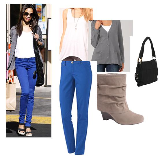 what to wear with blue pants