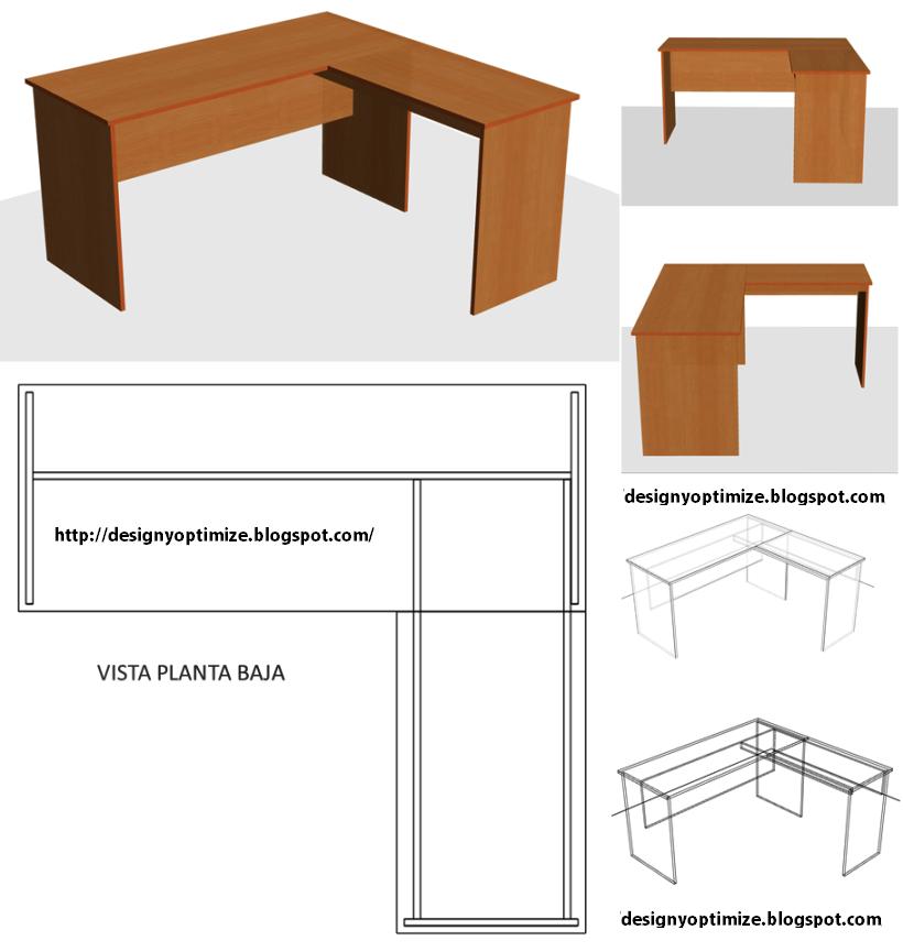 Dise o de muebles madera c mo construir escritorio para for Planos de escritorios