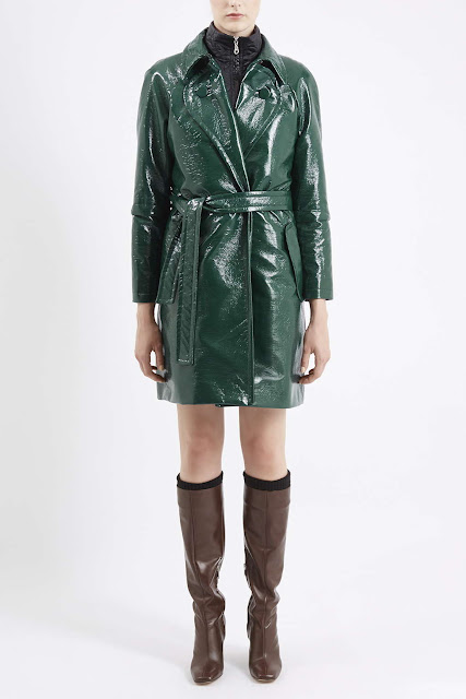 green shiny trenchcoat, topshop unique green coat,