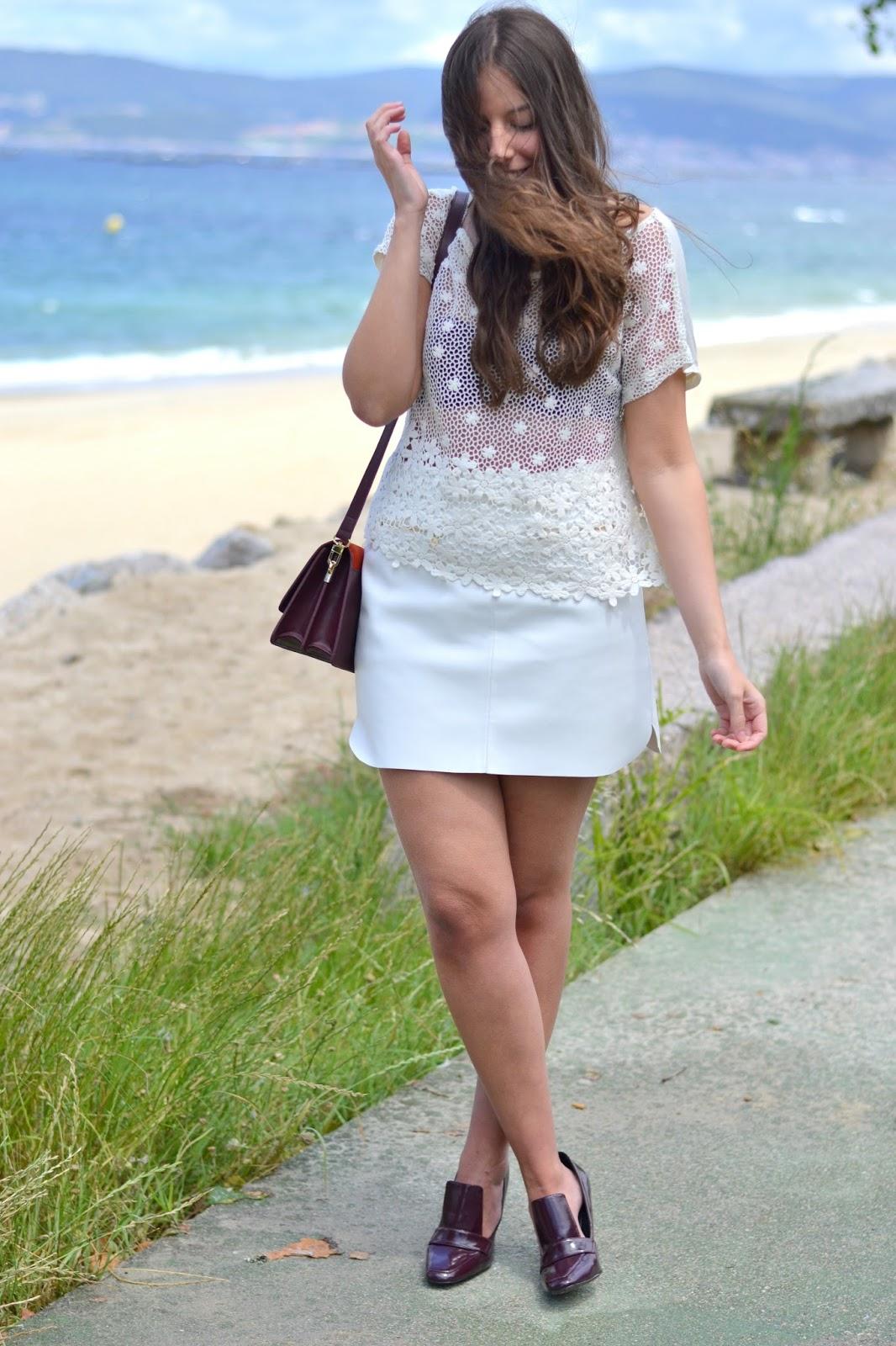 leatherette skirt, burgundy heels, crochet top