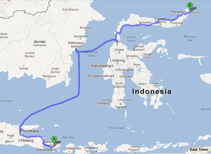 Bitung Indonesia  city images : based on Google maps, Bitung to Bali is so far away @ @