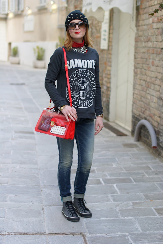 Ramones sweatshirt, Marc by Marc Jacobs see-thru bag, Fashion and Cookies