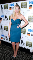 Kate Upton looking hot in a blue revealing dress