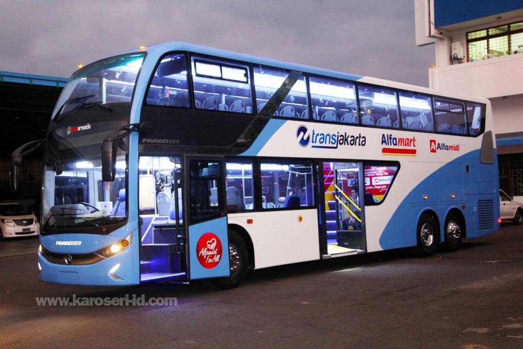 Eksterior bus tingkat paradise new armada terbaru |karoseri-id.com