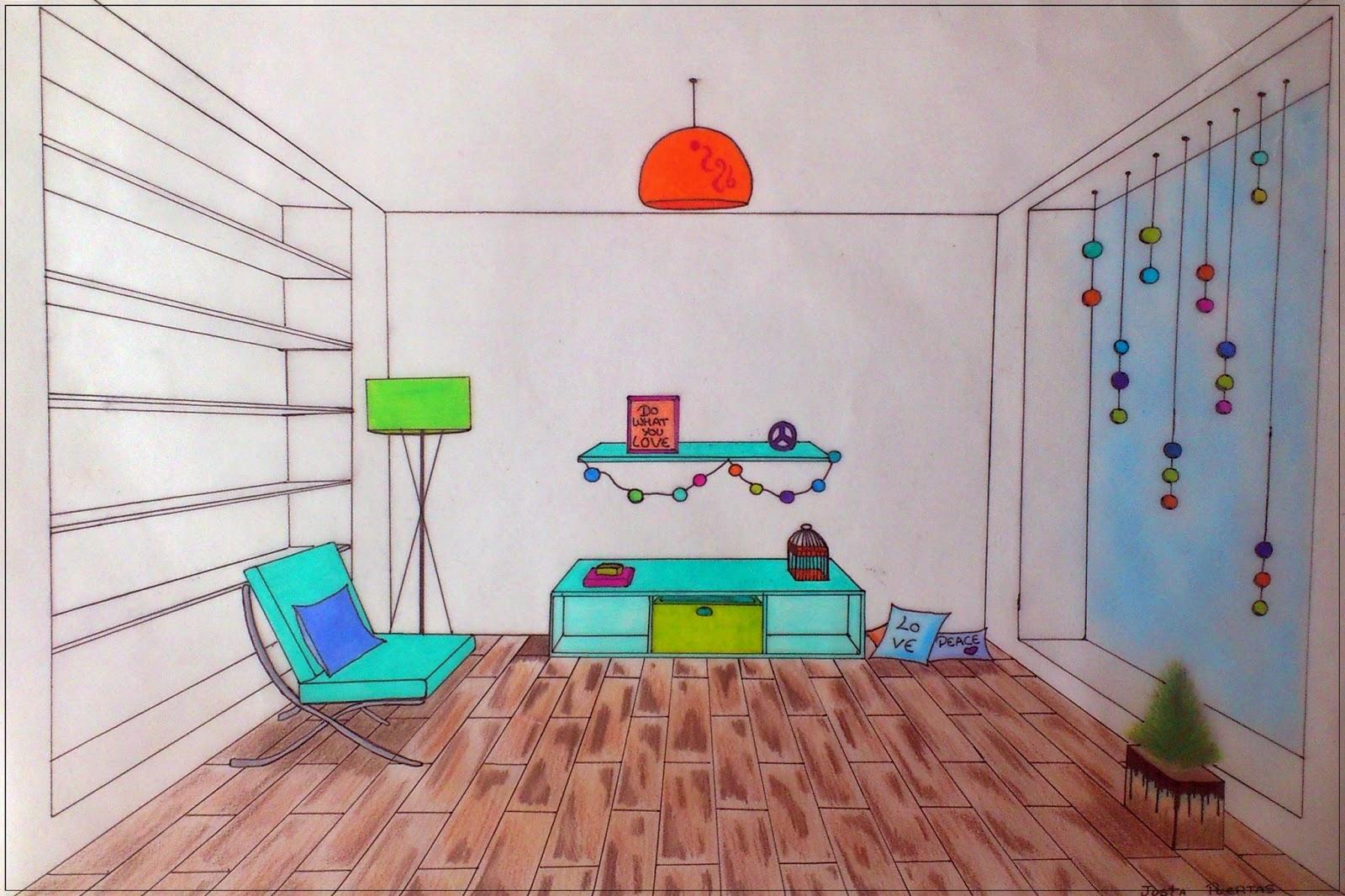Qu arte quillo perspectivac nica frontal aplicada al dise o de habitaciones por 2eso - Habitacion en perspectiva conica ...