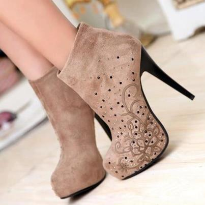 Brownish close high heel ladies shoes with flower print