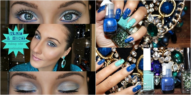 Blue makeup and nails. Blue and mint makeup tutorial. Blue and mint nails. Jelena Zivanovic Youtube.