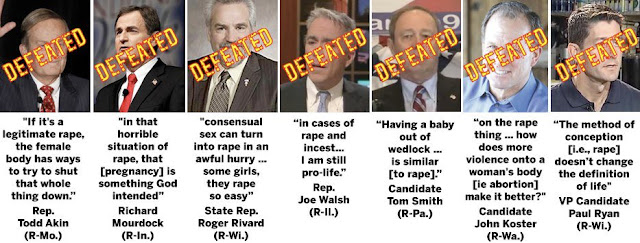 Akin, Mourdock, Rivard, Walsh, Smith, Koster, Ryan: defeated in 2012