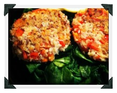 T25 Quinoa Patties Over Spinach