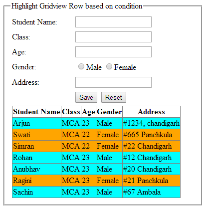 Highlight or change asp.net GridView row background color based on condition