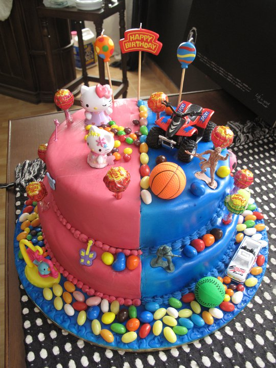Cake Ideas For Boy And Girl : Googi Designs: Customized Girl/Boy Birthday Cake