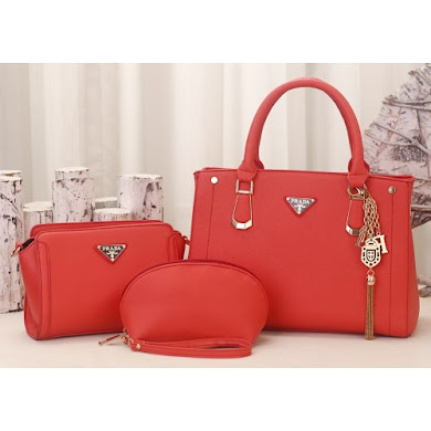 PRADA DESIGNER BAG (3 IN 1 SET) - PINK