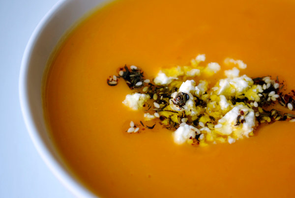 ... to The Recipe file: Sweet Potato Soup With Feta and Za'atar Oil